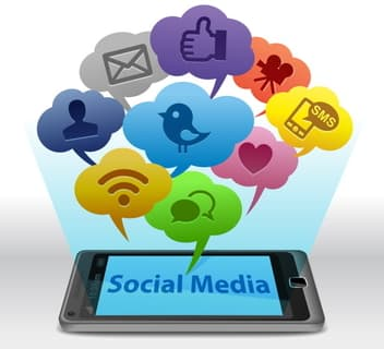 Social Media coming from a cell phone for mobile marketing.
